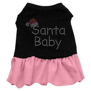 Santa Baby Rhinestone Dress Black with Light Pink XXL (18)