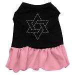 Star of David Rhinestone Dress Black with Light Pink Med