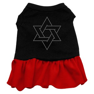 Star of David Rhinestone Dress Black with Red XL
