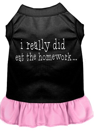 I really did eat the Homework Screen Print Dress Black with Light Pink XS