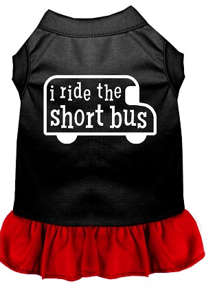 I ride the short bus Screen Print Dress Black with Red XXXL (20)