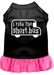 I ride the short bus Screen Print Dress Black with Bright Pink XS (8)