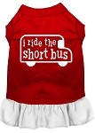 I ride the short bus Screen Print Dress Red with White XS (8)