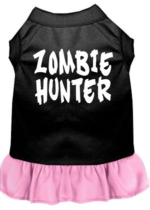 Zombie Hunter Screen Print Dress Black with Light Pink Sm (10)