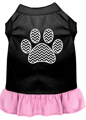 Chevron Paw Screen Print Dress Black with Light Pink Med (12)