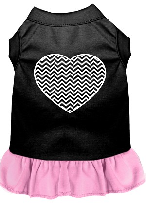 Chevron Heart Screen Print Dress Black with Light Pink Med (12)