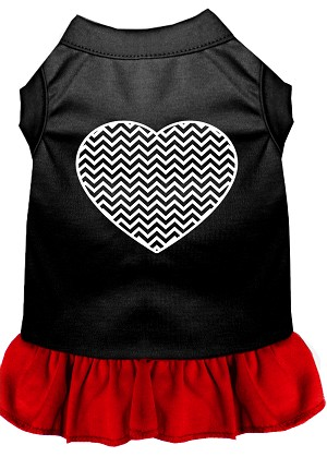 Chevron Heart Screen Print Dress Black with Red Med (12)