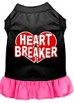 Heart Breaker Screen Print Dress Black with Bright Pink XS (8)
