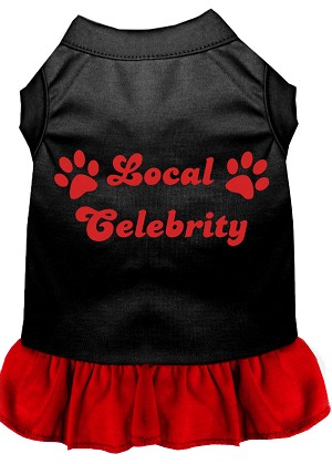 Local Celebrity Screen Print Dress Black with Red XL (16)