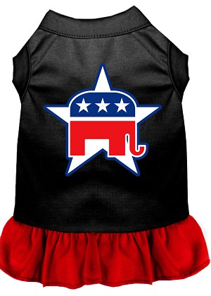 Republican Screen Print Dress Black with Red XXXL (20)