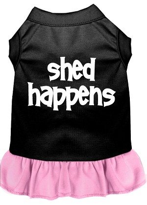 Shed Happens Screen Print Dress Black with Light Pink XL (16)