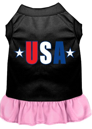 USA Star Screen Print Dress Black with Light Pink XS (8)