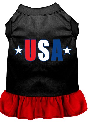 USA Star Screen Print Dress Black with Red Sm (10)