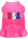 USA Star Screen Print Dress Black with Bright Pink Sm