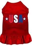 USA Star Screen Print Dress Red Med