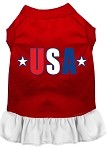 USA Star Screen Print Dress Red with White XS