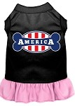 Bonely in America Screen Print Dress Black with Light Pink XS (8)