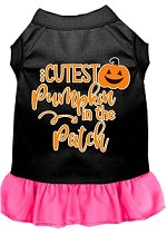 Cutest Pumpkin in the Patch Screen Print Dog Dress Black with Bright Pink XS