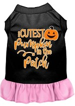 Cutest Pumpkin in the Patch Screen Print Dog Dress Black with Light Pink XS