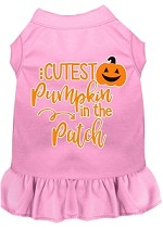 Cutest Pumpkin in the Patch Screen Print Dog Dress Light Pink XS