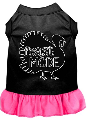 Feast Mode Screen Print Dog Dress Black with Bright Pink XXXL