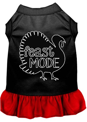 Feast Mode Screen Print Dog Dress Black with Red XL