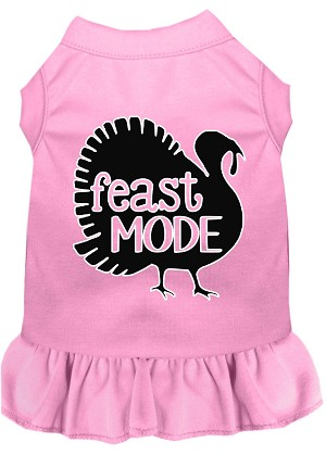 Feast Mode Screen Print Dog Dress Light Pink Sm