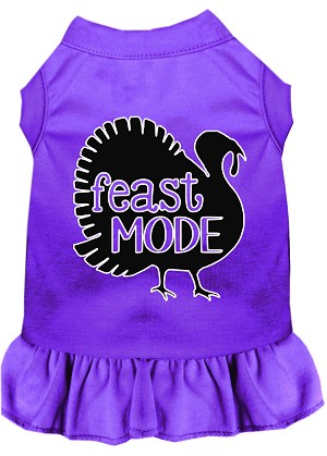 Feast Mode Screen Print Dog Dress Purple Med