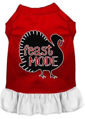 Feast Mode Screen Print Dog Dress Red with White XL