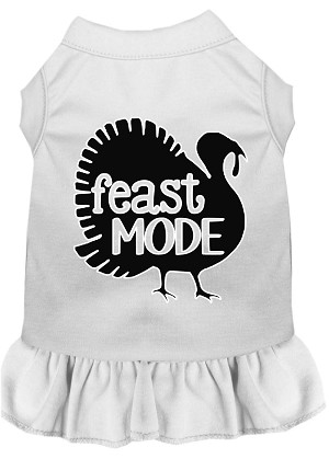 Feast Mode Screen Print Dog Dress White XL