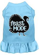 Feast Mode Screen Print Dog Dress Baby Blue XS