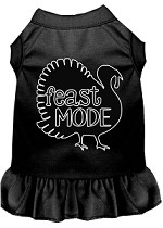Feast Mode Screen Print Dog Dress Black XS