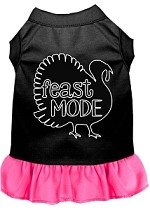 Feast Mode Screen Print Dog Dress Black with Bright Pink XS