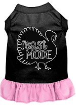 Feast Mode Screen Print Dog Dress Black with Light Pink XS