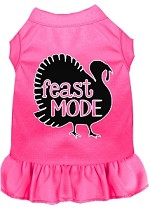 Feast Mode Screen Print Dog Dress Bright Pink XS