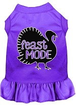 Feast Mode Screen Print Dog Dress Purple XS