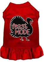 Feast Mode Screen Print Dog Dress Red XS