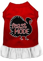 Feast Mode Screen Print Dog Dress Red with White XS