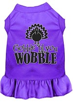 Gobble til You Wobble Screen Print Dog Dress Purple XS