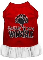 Gobble til You Wobble Screen Print Dog Dress Red with White XS