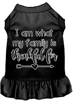 I Am What My Family is Thankful For Screen Print Dog Dress Black XS