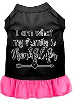 I Am What My Family is Thankful For Screen Print Dog Dress Black with Bright Pink XS