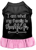 I Am What My Family is Thankful For Screen Print Dog Dress Black with Light Pink XS