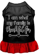 I Am What My Family is Thankful For Screen Print Dog Dress Black with Red XS
