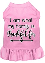I Am What My Family is Thankful For Screen Print Dog Dress Light Pink XS