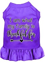 I Am What My Family is Thankful For Screen Print Dog Dress Purple XS