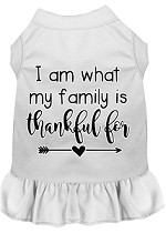 I Am What My Family is Thankful For Screen Print Dog Dress White XS