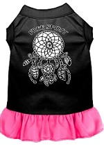 Free Spirit Screen Print Dog Dress Black with Bright Pink Med (12)