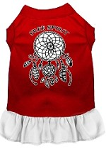 Free Spirit Screen Print Dog Dress Red with White XS (8)