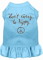 Be Hippy Screen Print Dog Dress Baby Blue Med (12)
